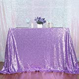 3e Home 72×72 Square Sequin TableCloth for Party Cake Dessert Table Exhibition Events, Lavender For Sale