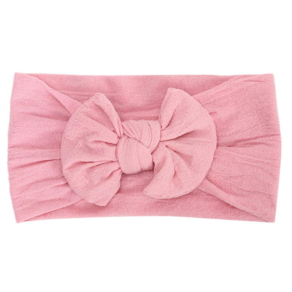 Cyhulu Baby Girl Nylon Headbands Newborn Infant Toddler Hairbands and Bows Child Hair Accessories (Pink, One size)