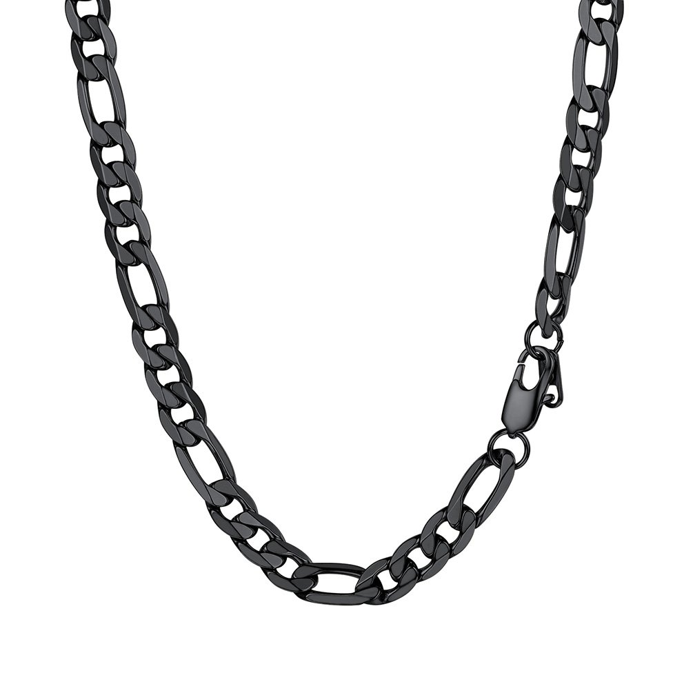 PROSTEEL Figaro Link Black Necklace Stainless Steel 9mm Big Wide Chain Chunky Necklace 24'' Men Jewelry Gift
