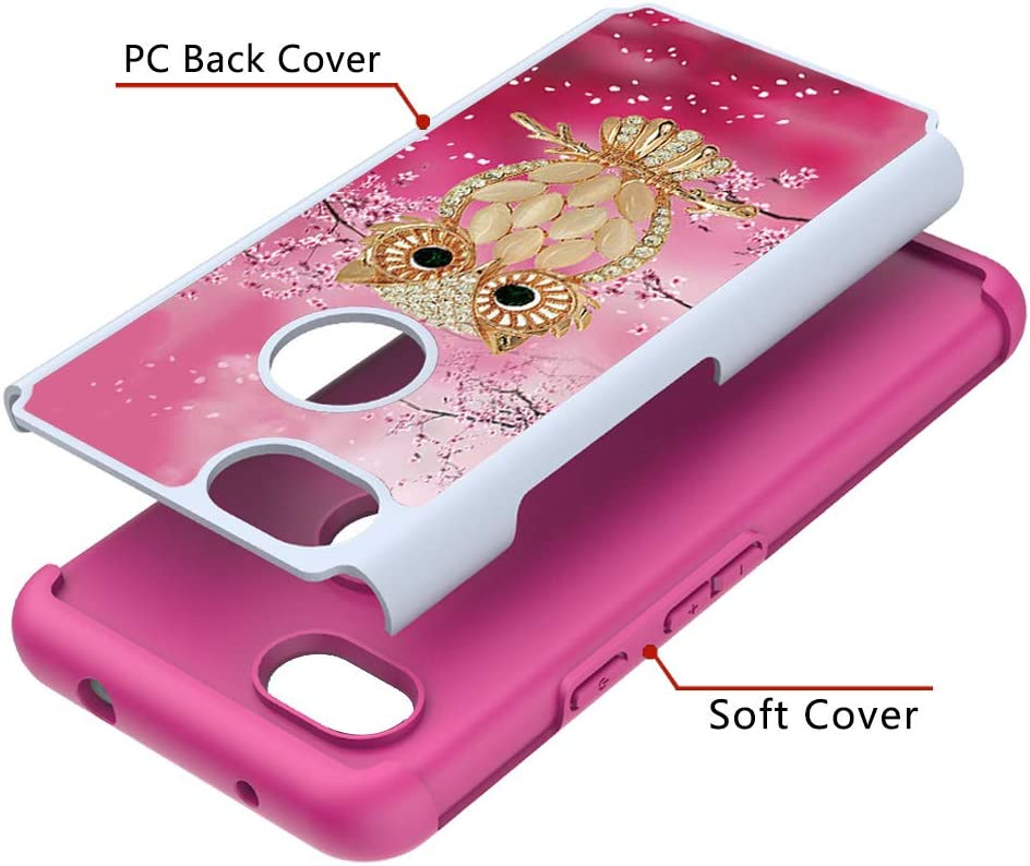 Soft Silicone Hybrid Dual Layer Back Cover Shockproof Protective Case Bumper Heavy Duty Case for Google Pixel 3a with Pattern,QFFUN Cute Pink Lotus Design Hard Plastic