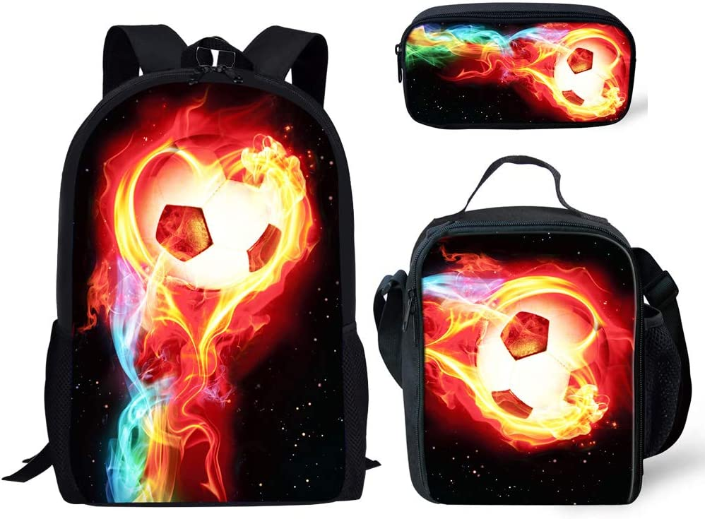 Woisttop Fire Soccer Schoolbag Lunchbox Pencil Case Set 3 Pieces Football Backpack for Primary Middle School Boys