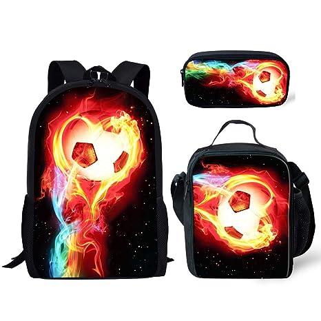 eaf65d1d908b HUGS IDEA 3 Piece Children School Bag Lightning Soccer Printed ...