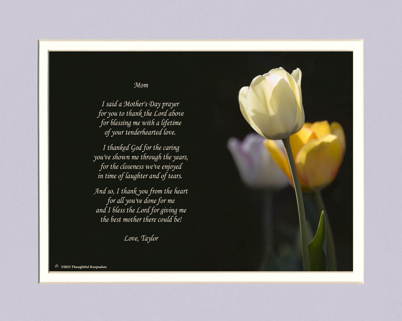 Personalized Mothers Day Gift with Mothers Day Prayer Poem. White Tulip Photo, 8x10 Double Matted. Special Mothers Day Gift for Mom.