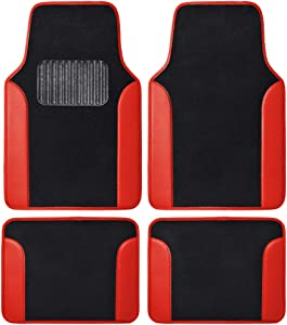 BDK MT202 Red Fresh Carpet Floor Mats for Sedan SUV Truck-Two Tone Design with PU Leather