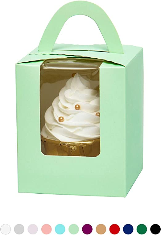 1 Cupcake Boxes with Inserts Marble Cupcake Boxes Single Individual Muffins Cupcake Carrier with Window 12 PCS