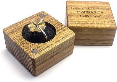 Caja para anillos de madera y cuero con grabado, para alianzas, caja para anillos, funda para anillos, cojín para boda: Amazon.es: Joyería