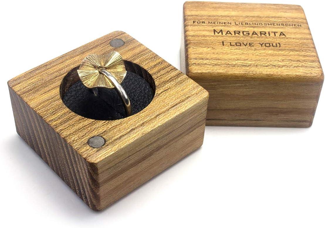Caja para anillos de madera y cuero con grabado, para alianzas ...