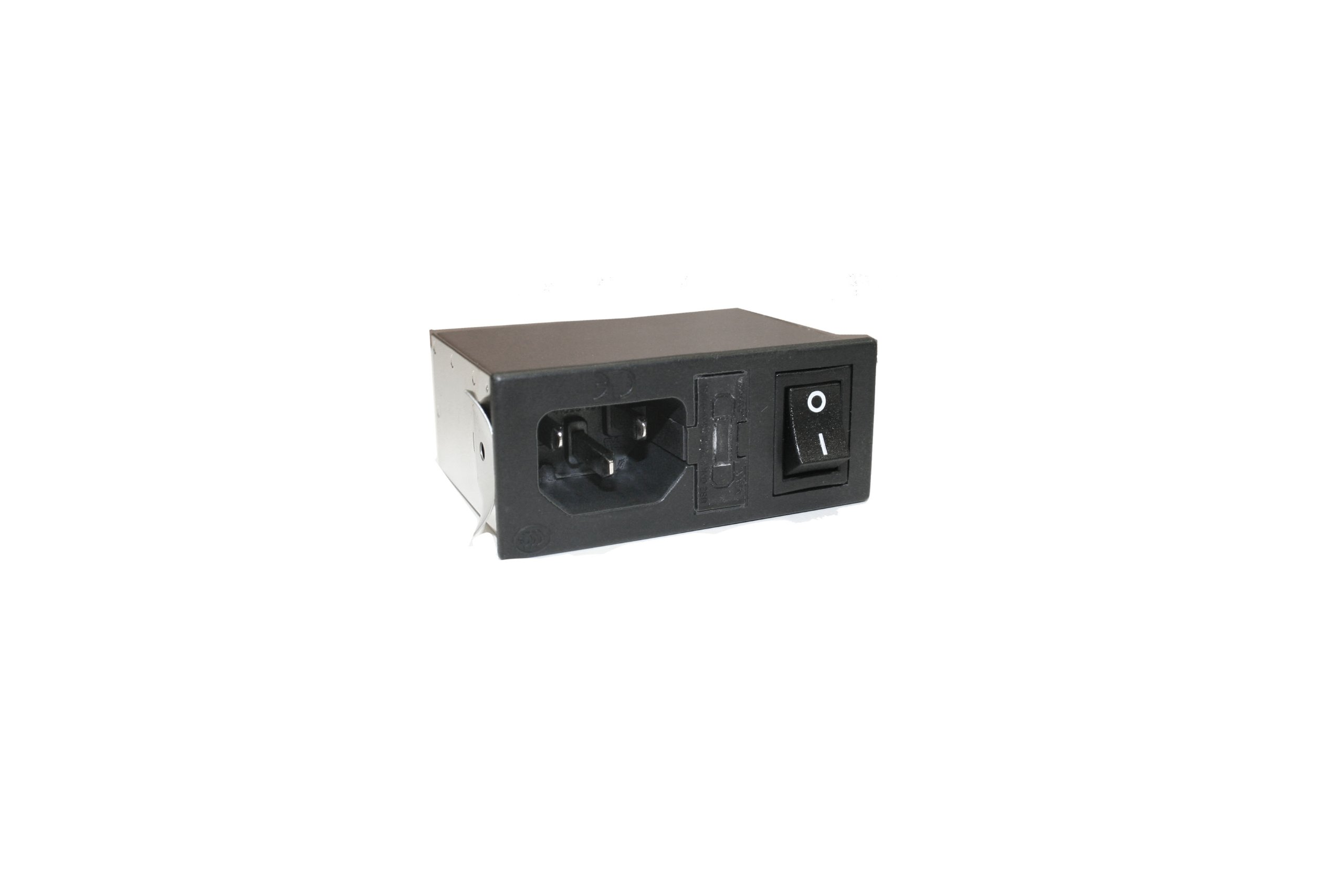 Interpower 83510031 Four Function Power Entry Module, C14 Inlet, Switch, Single Fused, Filter, 1-2mm Panel Thickness, 4 Amp/6 Amp Current Rating, 125/250VAC Voltage Rating