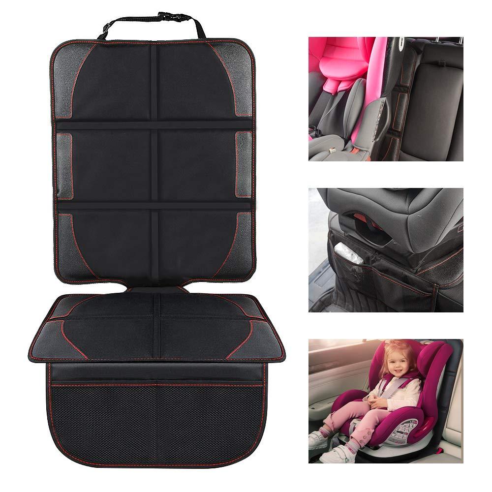 Autositzauflage Kindersitzunterlage, Nasharia Auto-Kindersitzunterlage wasserabweisend mit dicksten Polsterung zum Schutz vor Kindersitzen Isofix geeignet, Autositzschutz fü r Textil- und Ledersitze