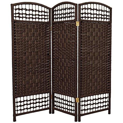 Oriental Furniture 4 ft. Tall Fiber Weave Room Divider - Dark Mocha - 3 (3 Panel Folding Floor Screen)