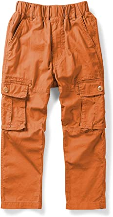 LAUSONS Boys Cargo Pants Cuffed Casual Trousers with Multi-Pocket