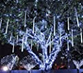 Meteor Shower Rain Lights Waterproof String for Wedding Party Christmas Xmas Decoration Tree Party Garden String Light Outdoor 10FT 8 Tube 144 led Lamp beads
