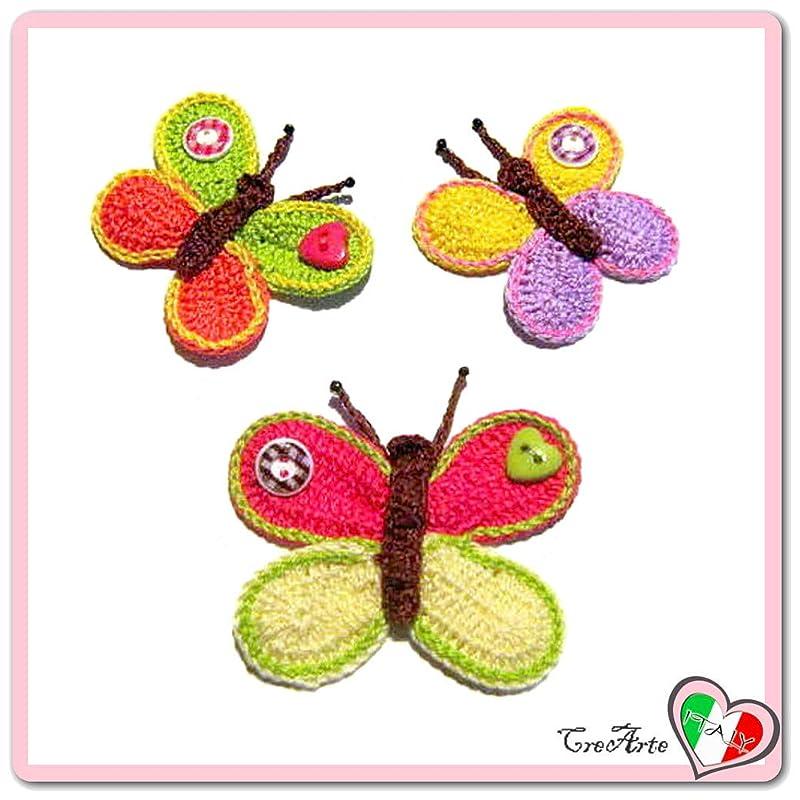 Set 3 mariposas de colores con botón para aplicaciones ...