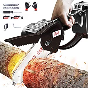 Mini Chainsaw, 24V 3000mAh Pruning Shears Chain saw with 2Pcs Batteries and 2pcs Chains, 4-Inch Cordless Electric…