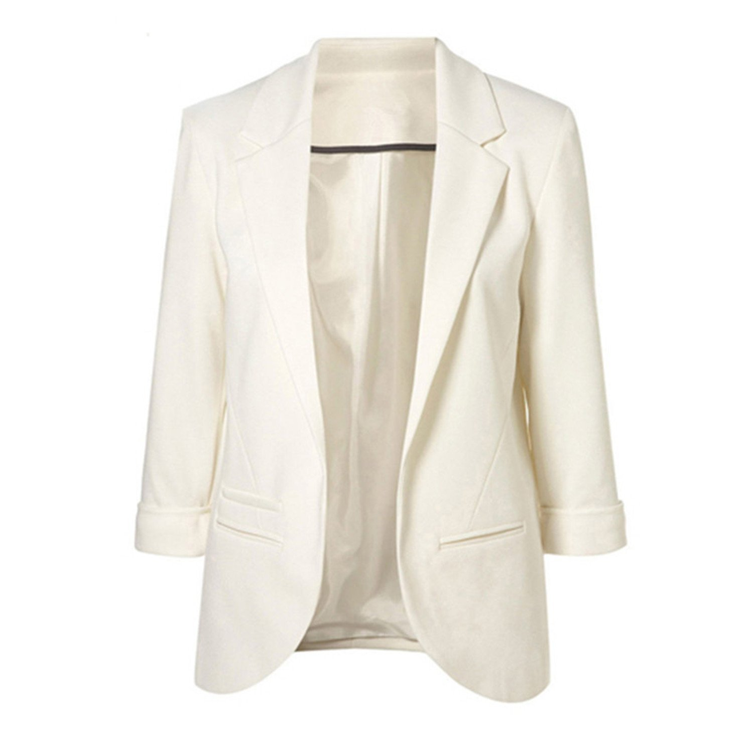 Toping Fine Blazer 3/4 Sleeve Workwear White Blazer Jackets Casual Blue Notched Blazer Outwear Overcoat Wine RedX-Large
