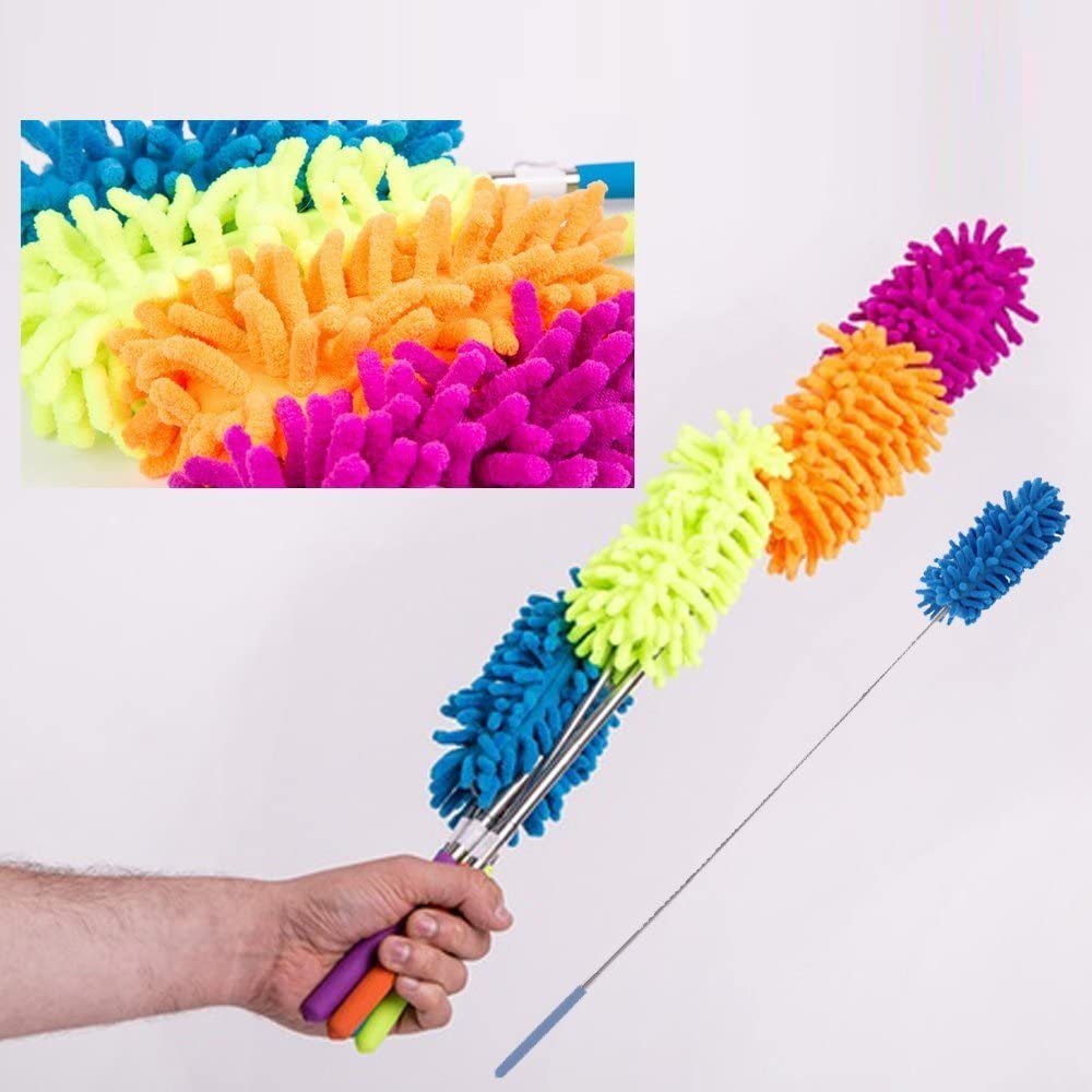 Extendable Telescopic Microfibre Cleaning Feather Dusters Extendings Brush Yellow