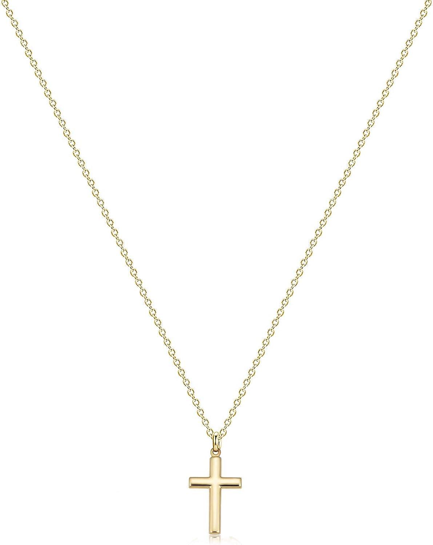 Fettero Cross Necklace Faith Pendant 14K Plated Dainty Chain Minimalist Simple Tiny God Lords Prayer Religious Jewelry Gift
