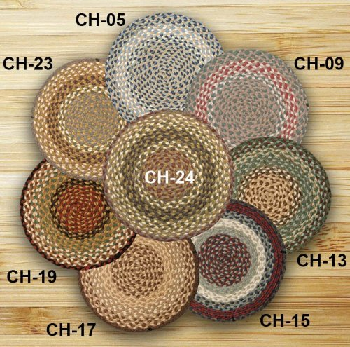 Earth Rugs CH-009 Round Chair Pad, 15.5'', Green/Burgundy by Earth Rugs
