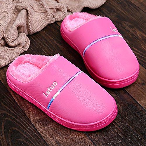 Inverno fankou paio di pantofole di cotone gli uomini e le donne di spessore inferiore impermeabile coperta calda anti-skid soft home home inverno maschio, 38/39, rose red