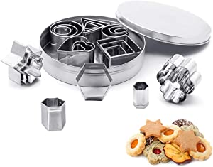 SITAKE 24 Pcs Mini Metal Cookie Cutters Set, Geometric Shapes Biscuit Molds - Hexagon, Square, Circle, Oval, Triangle, Hearts, Stars, Flowers Shape Cutters for Cakes, Vegetables, Fruits