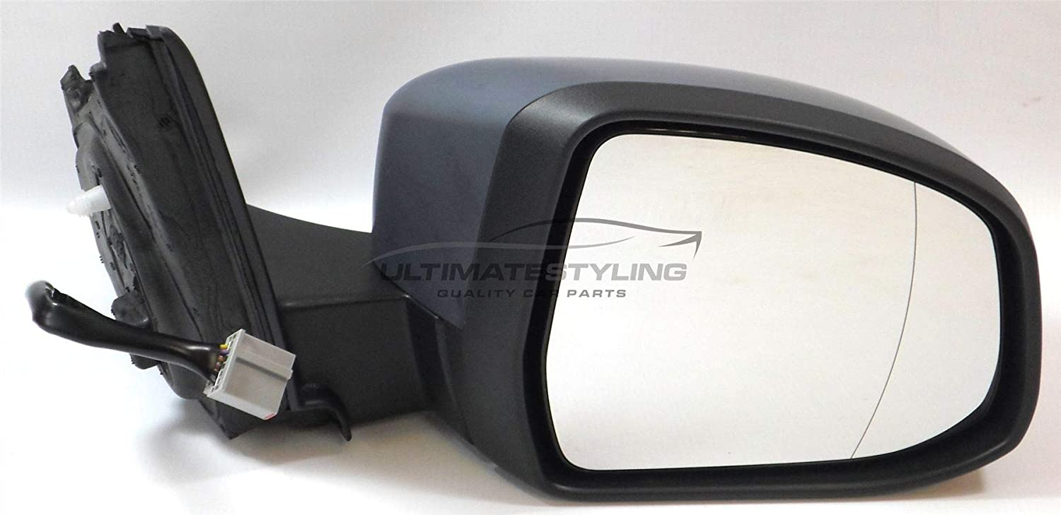 Ultimate Styling Replacement Electric Power Folding Wing Door Mirror With Heated Glass With Puddle Lamp With Paintable RH Black Mirror Cover Cap Side Of Product Drivers Side