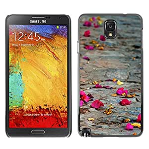 LASTONE PHONE CASE / Slim Protector Hard Shell Cover Case for Samsung Note 3 N9000 N9002 N9005 / Cool Rose Petal Street Nature Sad Meaning Deep