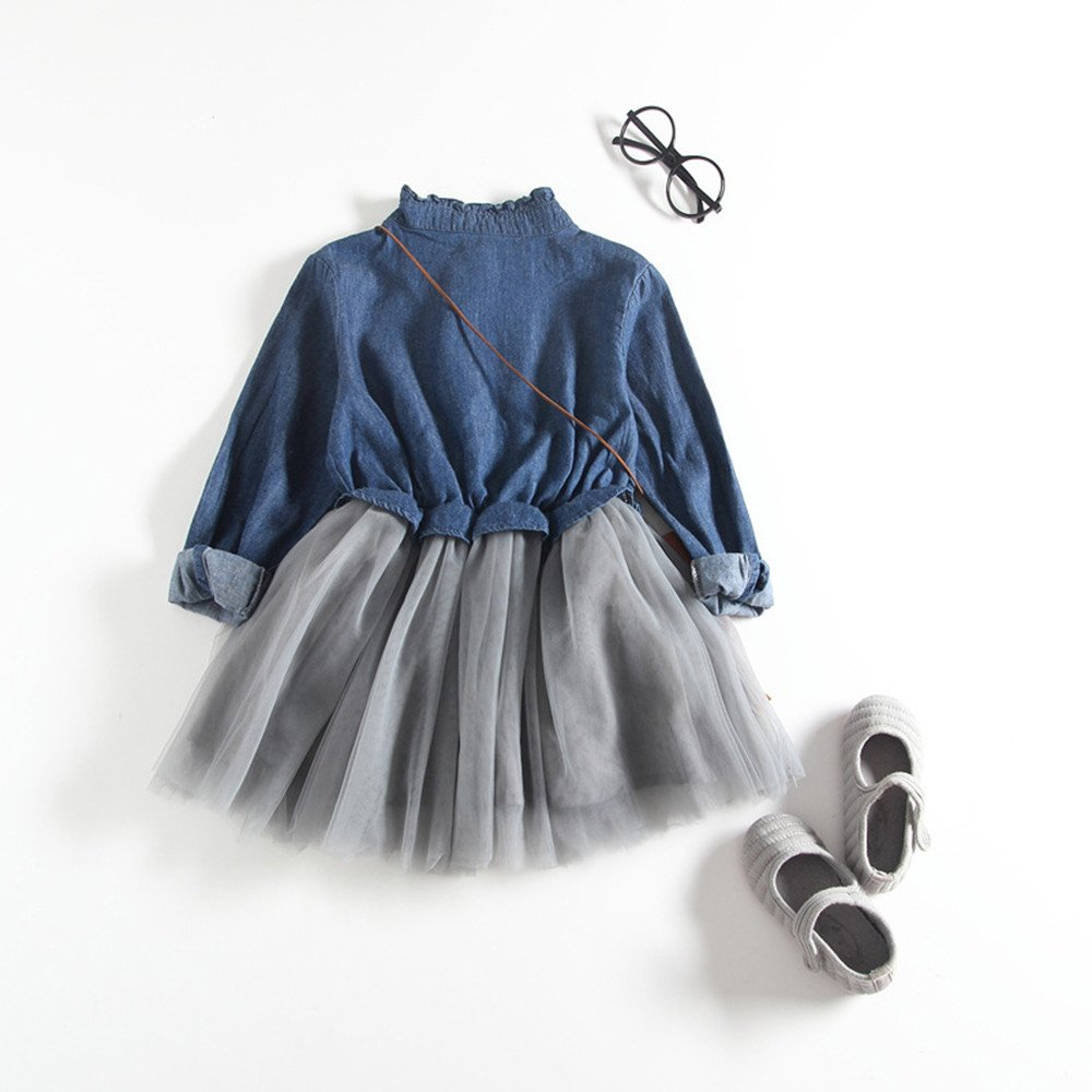 Denim Dress Long Sleeve Princess Tutu Dress Cowboy Clothes Fashion Baby Girls Dress