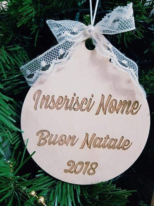 Immagini Di Natale Con Nomi.Palla Per Albero Di Natale In Legno Personalizzabile Con Nomi Della Famiglia