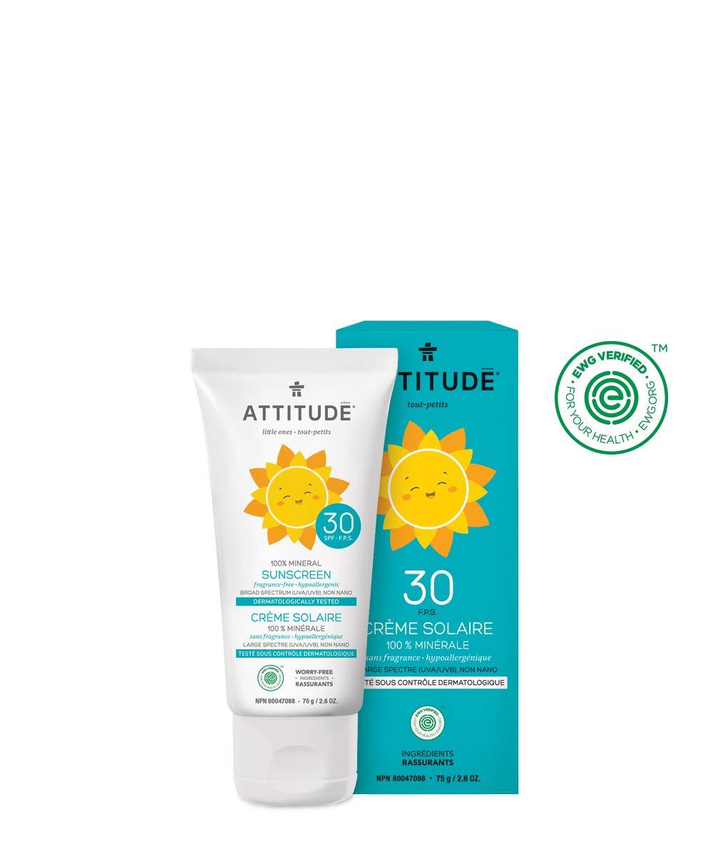 ATTITUDE Natural Sun Care, Hypoallergenic Mineral Sunscreen, SPF 30, Fragrance Free, 2.6 oz