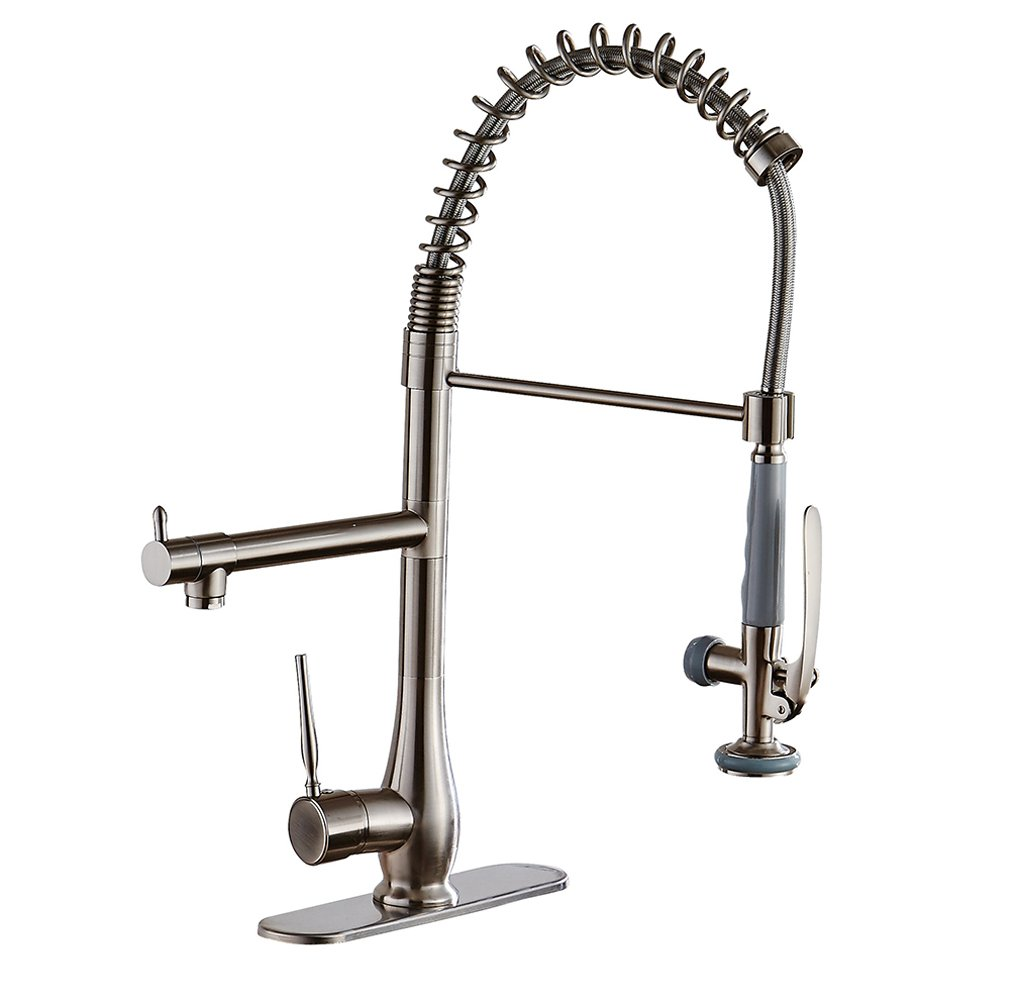 BWE Modern Single Handle Brushed Nickel Commercial Pull Down Kitchen Sink Faucet with Sprayer