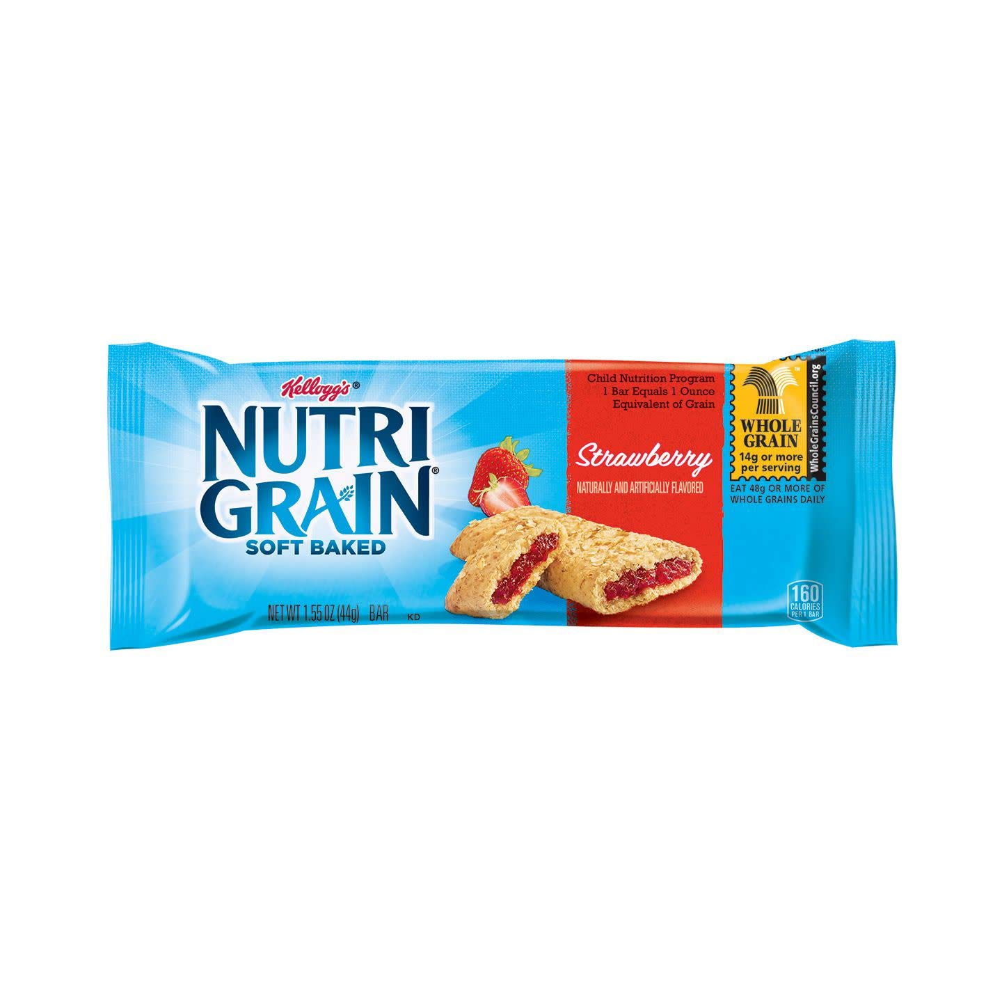 Kellogg's Nutri-Grain, Soft Baked Breakfast Bars, Strawberry, Made with Whole Grain, Strawberry, 24.8oz (96 count)