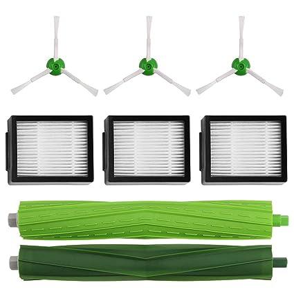 MIRTUX Pack de Accesorios para Roomba E5 / i7. Kit de recambios Completo para E5 E6 i7 i7+. Repuestos de reemplazo de cepillos Laterales, filtros, ...