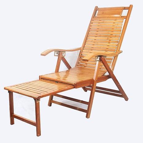 BEIGOO Bambú Plegable Tumbona, Hogar Viejo Hombre Pausa para ...