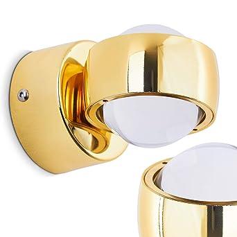 Effekt LED Wandlampe Rio   Kugelförmige Wandleuchte In Goldfarben    Wandspot Aus Metall Und Linsen Aus