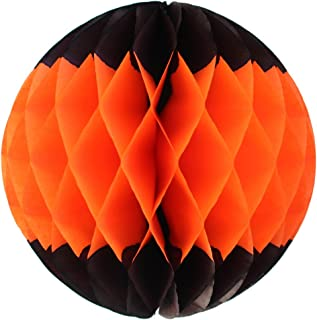 product image for 3-Pack 12 Inch Honeycomb Tissue Paper Ball Decoration (Black/Orange)