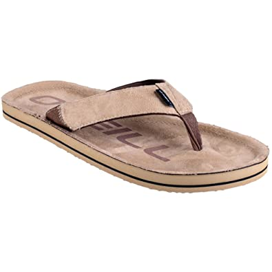 ONeill Mens FTM Chad Cotton Canvas Flip Flops Brown
