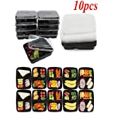 10 Pieces Reusable Plastic Meal Storage Containers Food Prep Lunch Box 3 Compartment Microwave Dishwasher Freezer Safe