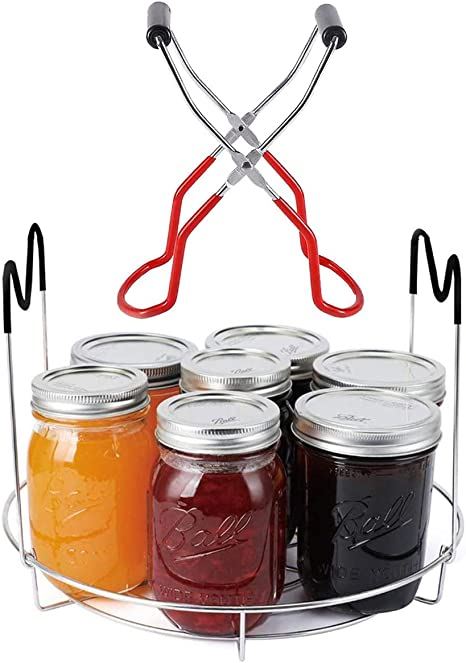 Black Canning Rack Canning Jar Lifter Tongs Kit and Stainless Steel Canning Jar Rack with Heat Resistant Handle Canning Jar Lifter Tong for Regular and Wide Mouth Mason Jars
