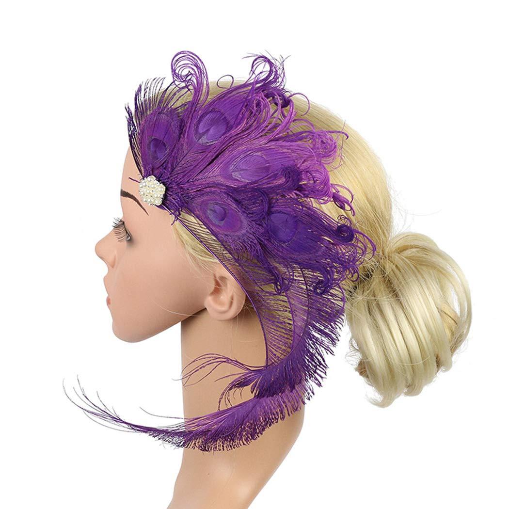 dressfan Vintage Flapper Stirnband Pfau Feder Stirnband Cocktail Party Pferde M/ädchen Frauen bunt