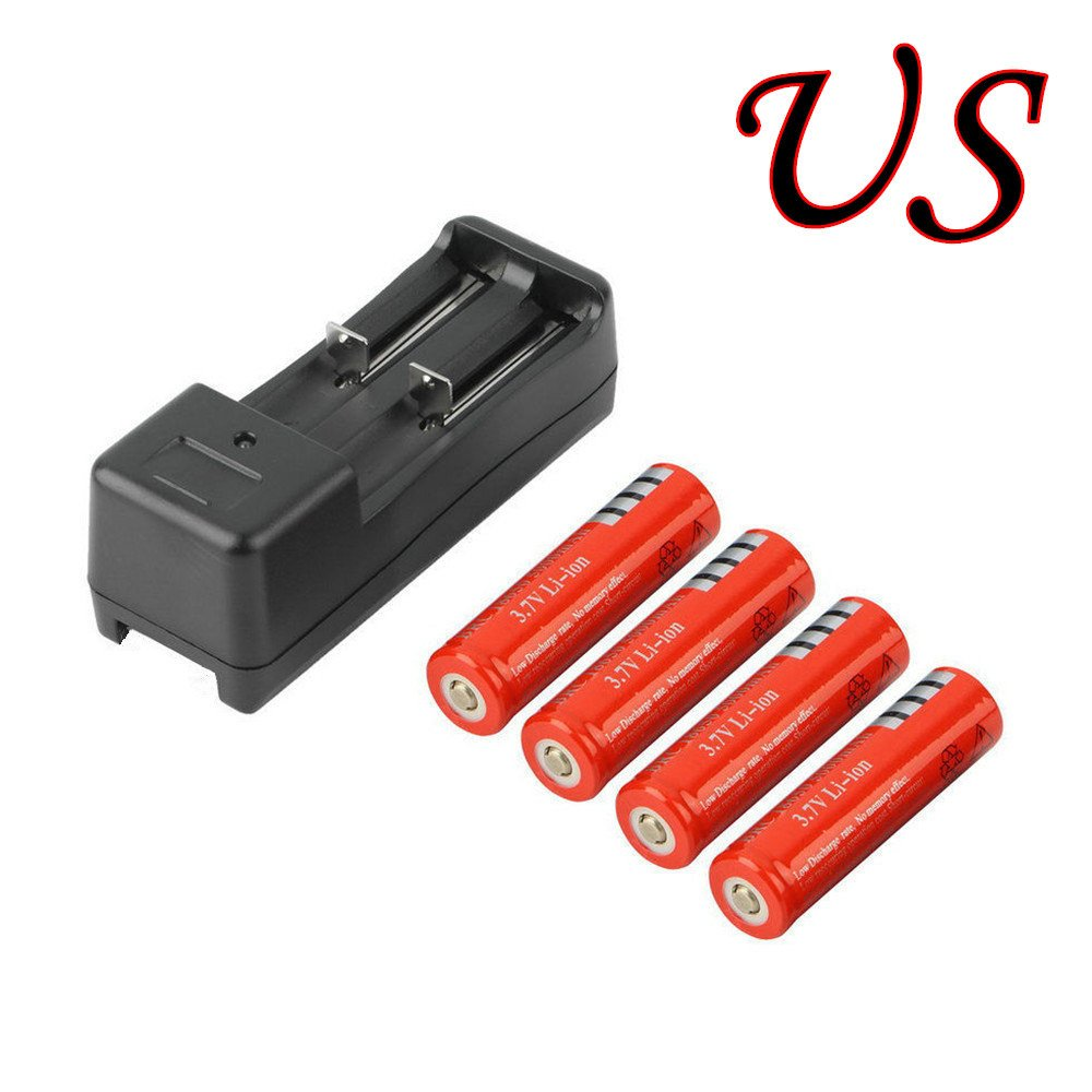Electric Tools red 4Pcs 18650 Battery 5000mAh Li-ion 3.7V Rechargeable Li-ion Batteries 1Pcs Smart lithium battery Charger for LED Flashlight Torch