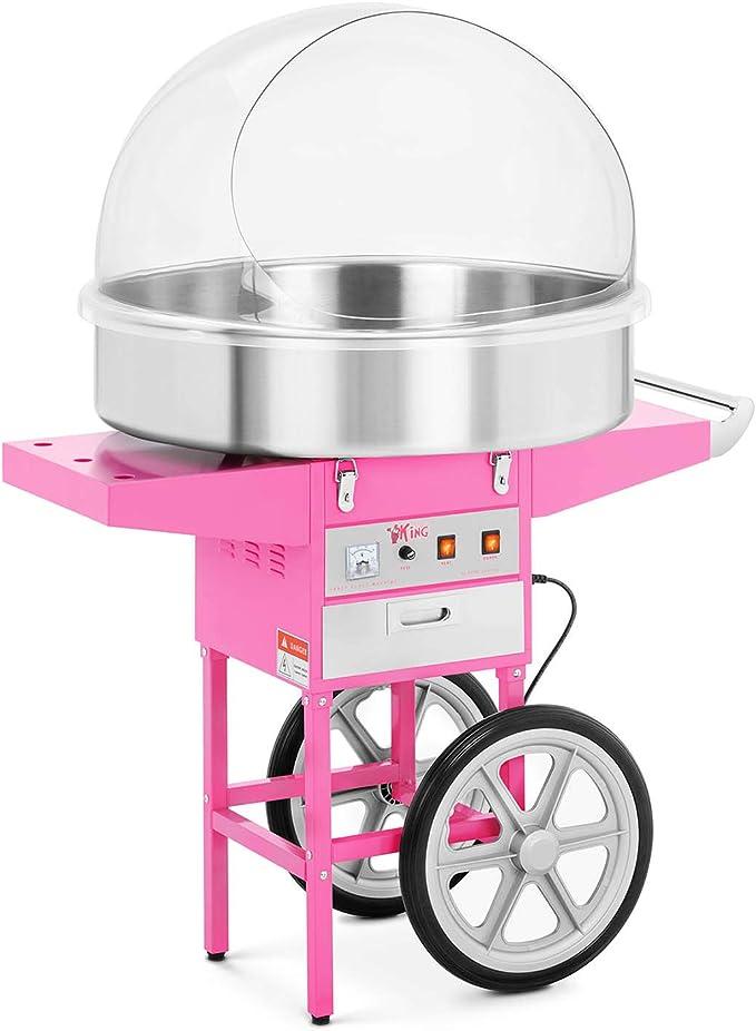 Royal Catering XXL Máquina de algodón de azúcar RCZC-1200XL (Olla de Ø 72 cm, Con carrito, Tapa amovible, 1200 W) Rosa: Amazon.es: Hogar