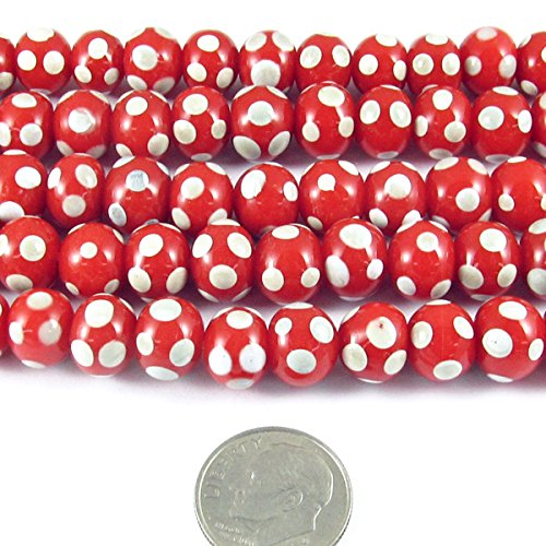 - Red and Ivory Dotted Round Glass Beads Christmas Lampwork 9mm (60 Pieces)
