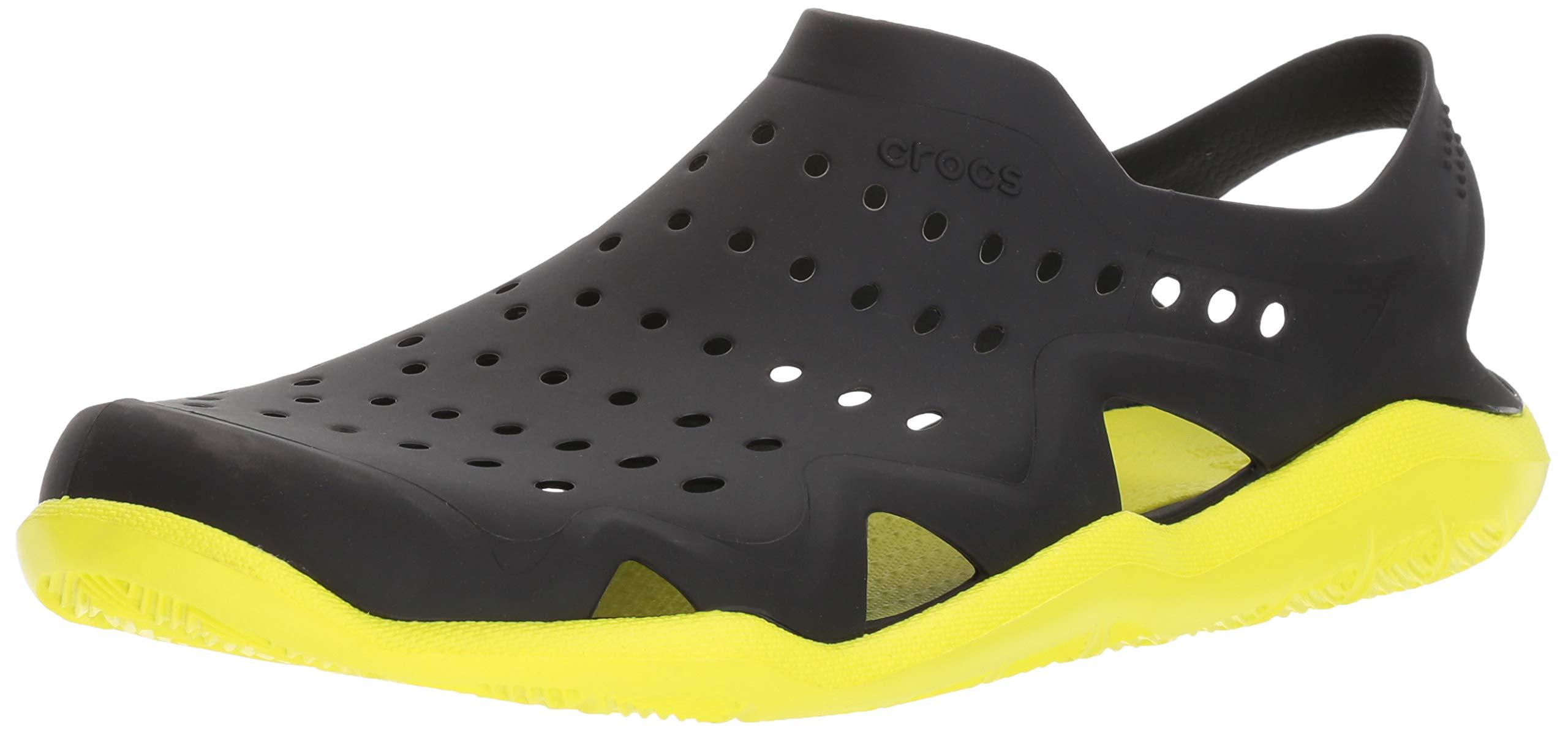 crocs Men's Swiftwater Wave M Flat,black/tennis ball green,4 M US by Crocs (Image #1)