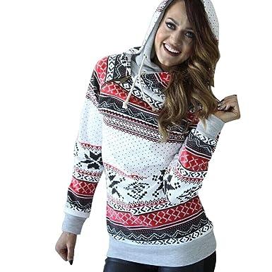 3088b53e5 Simayixx Sweatshirts for Women Christmas Sweater Cardigan Patterns Reindeer  Snowman Snowflakes Jumper Tops at Amazon Women s Clothing store