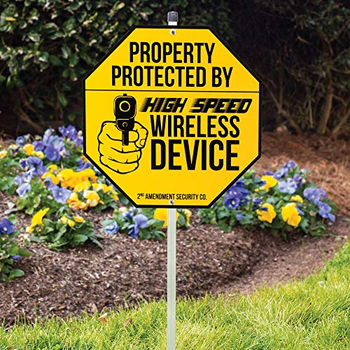(K EXCLUSIVE Wireless Device Warning Sign with Stake - Tough Plastic Construction, Weather-Resistant Artwork - 29