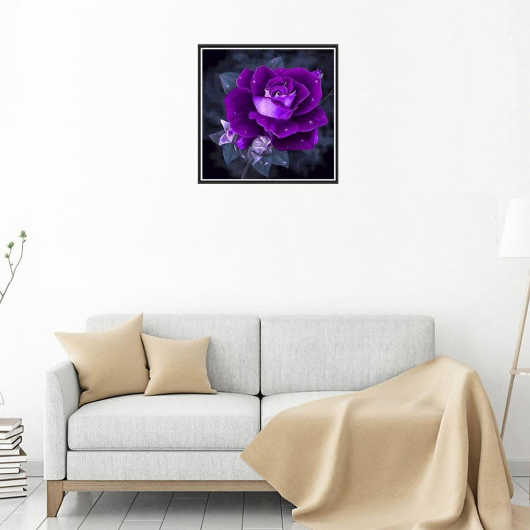 A Geyou 5D Diamond Painting by Number Kits Purple Rose Flower Stitch DIY Embroidery Diamond Home Decor Gift New,Cross-Stitch Stamped Kits