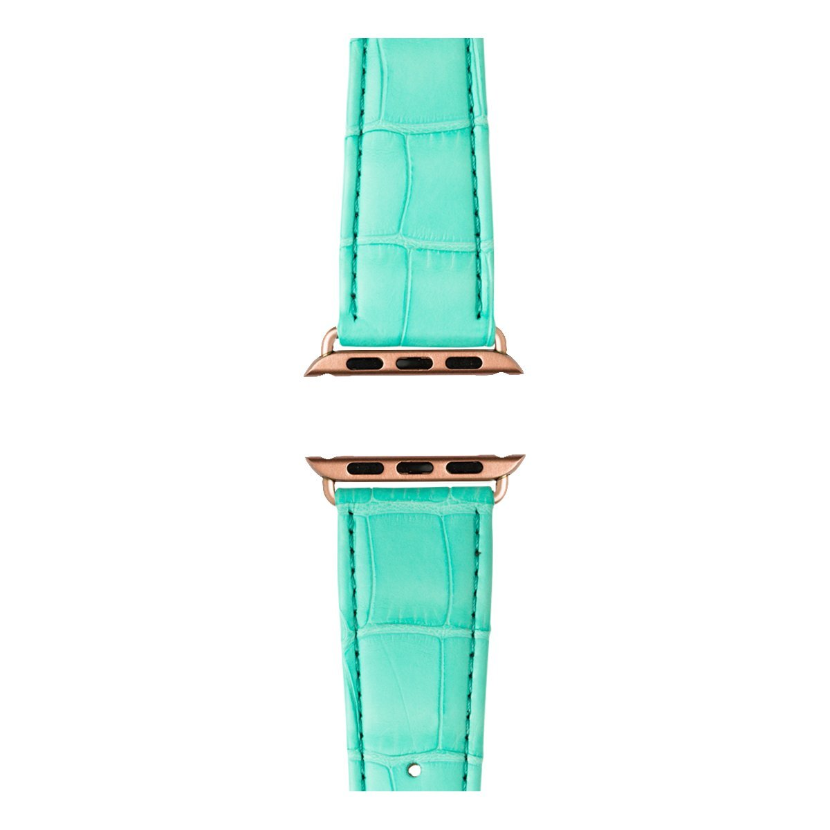 Roobaya | Premium Alligator Leather Apple Watch Band in Turquoise | Includes Adapters matching the Color of the Apple Watch, Case Color:Rose Gold Aluminum, Size:38 mm by Roobaya (Image #3)