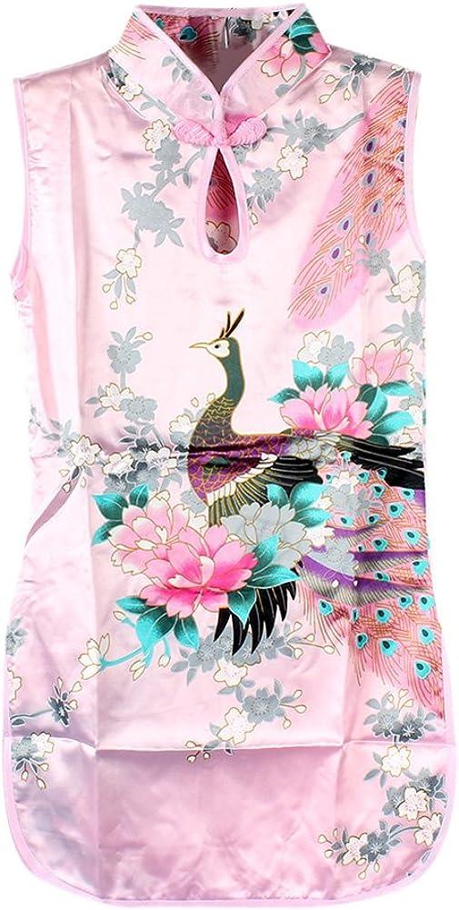 Norbi Toddler Girls Chinese Floral Peacock Cheongsam Dress