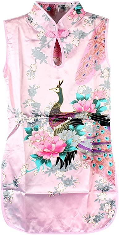 Kids Summer Dresses Chinese Qipao Baby Girls Floral Peacock Cheongsam Dress