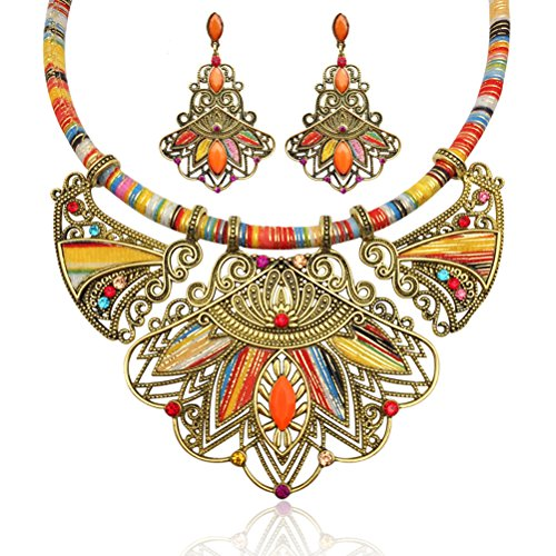 LUOEM Fashion Handmade Ethnic Set Bib Necklace Earrings Multicolor Boho Vintage Statement Jewelry for Women Jewelry (Colorful)